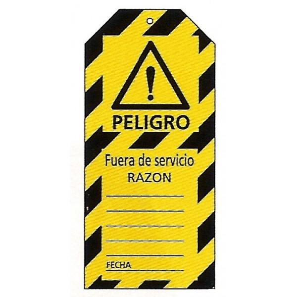 Imagenes De Baño Fuera De Servicio:Tarjeta bloqueo PELIGRO FUERA DE SERVICIO RAZON 75 x 160 mm (c/10 unid